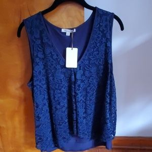 Blue sleeveless lace top